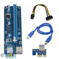 Райзер Mirkit Powered Riser Cable PCI-E 16x to 1x 6 pin PCIe & SATA with USB 3.0 Blue v006с, фото 1